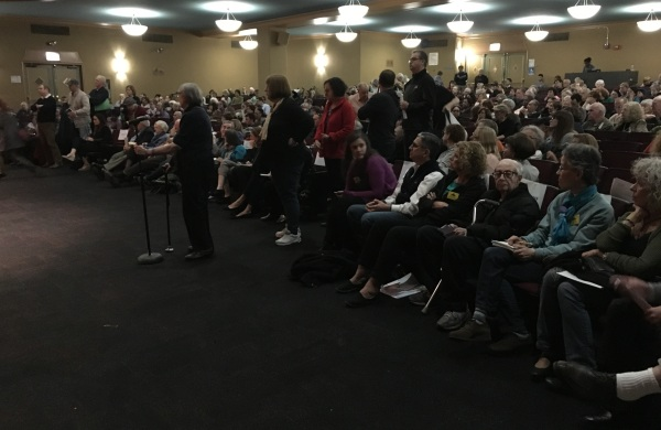Tenants line up to ask questions at the meeting at Baruch College, which was attended by over 500 people.