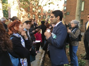 Blackstone's Nadeem Meghji, pictured with tenants at last month's press conference announcing the sale of Stuyvesant Town, said the owner has been asked about students more than any other subject. (Photo by Sabina Mollot)
