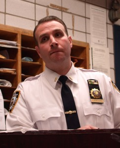 Lieutenant Steven Lebovic at Tuesday's 13th Precinct Community Council meeting Photo by Maria Rocha-Buschel)