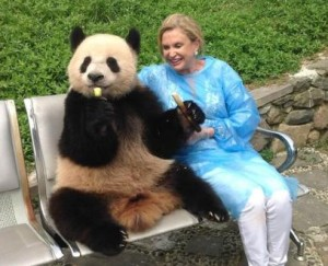 Congresswoman Carolyn Maloney with a panda pal during a visit to a Chinese panda research center last year (Photo courtesy of Carolyn Maloney)