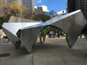 """""""Nova"""" was recently installed at the Flatiron Pedestrian Plaza's north side. (Photo by Sabina Mollot)"""