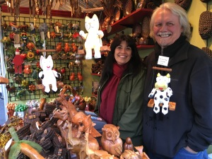 Mick Joseph with husband Claus Ronnex-Printz at DezignMind and their assorted, wooden animal toys