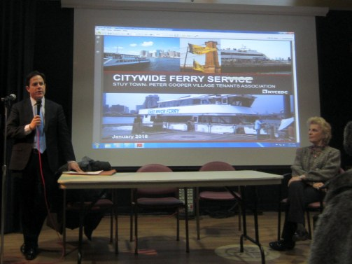Council Member Dan Garodnick speaks at the ST-PCV Tenants Association's meeting on the planned East 20th Street ferry landing, as Susan Steinberg, Tenants Association president listens. (Photo by Maria Rocha-Buschel)