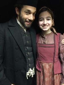 Jeffrey Schecter (Mendel) and Hayley Feinstein (Bielke) in costume backstage at the Broadway Theatre (Photo by Allison Sherry)