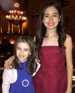 "Hayley Feinstein (right) with sister Tori, who's also an actor in Broadway's ""Matilda"" Photo by Allison Sherry)"