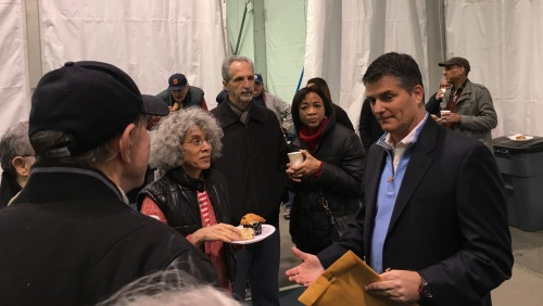 Rick Hayduk (right), the new general manager of ST/PCV, speaks with tenants at a meet-and-greet event on Saturday. (Photos by Sabina Mollot)
