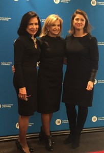 Congresswoman Carolyn Maloney (center) at FIT last Thursday with  Joyce Brown, president of FIT, and Deputy Mayor Alicia Glen (Photo by Maria Rocha-Buschel)