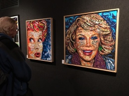 Portraits of Lucille Ball and Joan Rivers by Laura Benjamin made with candy wrappers