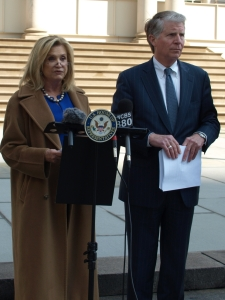 Congresswoman Carolyn Maloney and District Attorney Cyrus Vance at City Hall (Photo by Maria Rocha-Buschel)