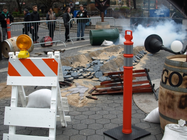 Fans who came to see a dragon only got to see smoke and a few overturned pieces of park furniture. (Photo by Maria Rocha-Buschel)