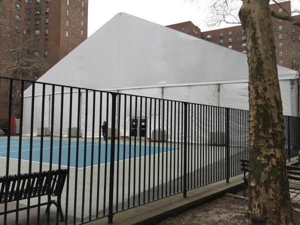 The sports tent at Playground 11 a.ka. The Courts at Stuy Town (Photo by Sabina Mollot)
