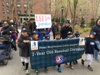 7-year-olds with their banner
