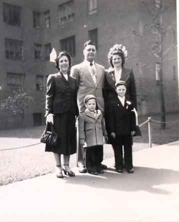 LoMenzo (center) with his mother, his wife and his two sons after moving to Stuyvesant Town (Photos courtesy of Roger LoMenzo)