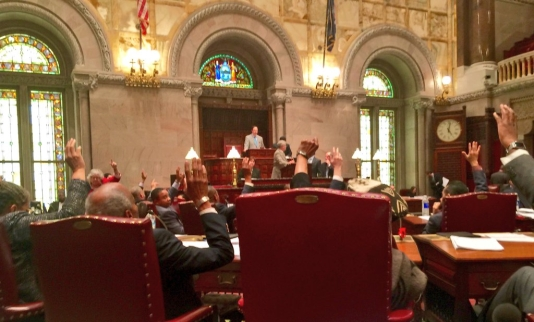 The Senate Democrats vote on closure of the LLC Loophole, which failed to make it into the budget. State Senator Brad Hoylman called the budget process unchanged since the Silver and Skelos scandals.  (Photo by State Senator Brad Hoylman)
