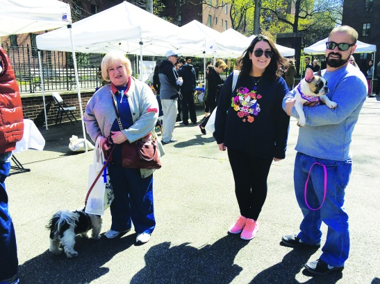 Dog owners at the first Dog Days event on April 16 (Pictured) Janet Spampanato with her dog Joey and Nicole and Dave Burner with Lulu (Photo by Sabina Mollot)