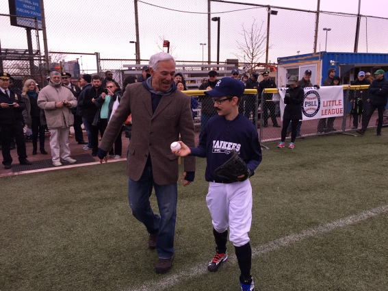 Bobby Valentine threw the first pitch of PSLL's season on Saturday, which was caught by a mustache-wearing Alex Ramirez. Ramirez was one of several players wearing mustaches in Valentine's honor. (Photos by Sabina Mollot)