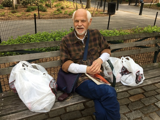 A plastic-bag toting resident of Peter Cooper, Donald Meyers, welcomed the City Council bill, but still had concerns. (Photo by Sabina Mollot)