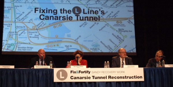 A public meeting on the planned L line repairs and accompanying shutdowns was held last Thursday at the Salvation Army Theatre.