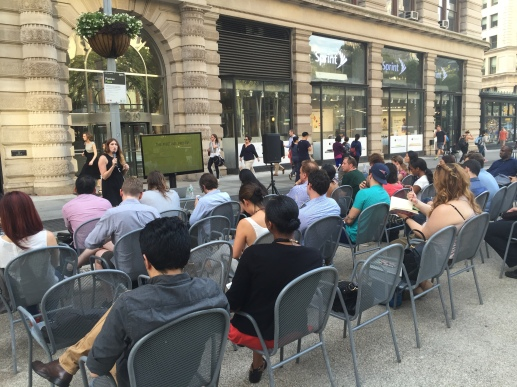 Attendees at a tech class held last summer on the Flatiron Plaza (Photo by Maria Rocha-Buschel)