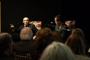 Ray Kelly, with son Greg at the National Arts Club, spoke about little known aspects of his career from his police work in Haiti to his stint in Vietnam as a Marine. (Photos by Maria Rocha-Buschel)