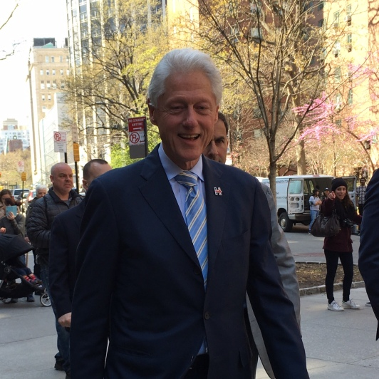 Former President Bill Clinton strolls along the First Avenue Loop on his way to the community center on April 11. (Photo by Sabina Mollot)