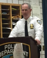Deputy Inspector Brendan Timoney at the 13th Precinct Community Council meeting Photo by Maria Rocha-Buschel)