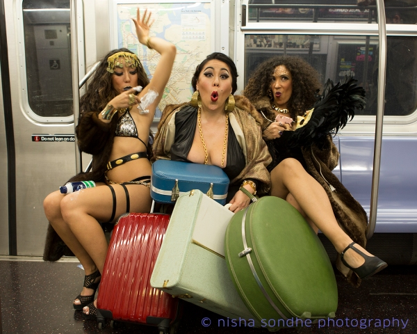 (L-R) BrASS Burlesque co-founders Sister Selva, ExHOTic Other (Una Aya Osato) and Aurora BoobRealis (Photo by Nisha Sondhe)