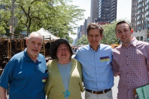 Keith Powers (right), pictured in 2014 with Charles Buchwald, Eleanor Roosevelt Democratic Club's former male district leader, who died last year, and State Senators Liz Krueger and Brad Hoylman