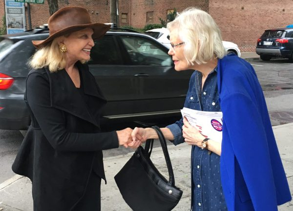 Congresswoman Carolyn Maloney made a campaign stop in Stuyvesant Town on a recent afternoon. (Pictured) Maloney with ST-PCV Tenants Association Board Member Virginia Rosario (Photo by Sabina Mollot)