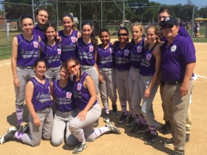 Fourteen-year-old girls' softball team, the Adrenaline, after the team's first win in the New York State tournament