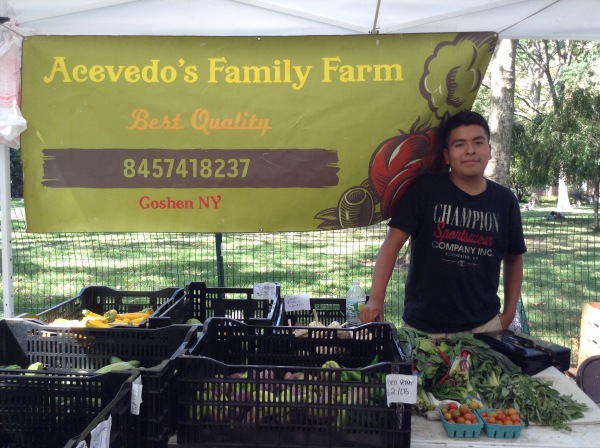 Alexis Acevedo mans the booth for the Goshen-based farm. (Photo by Maya Rader)
