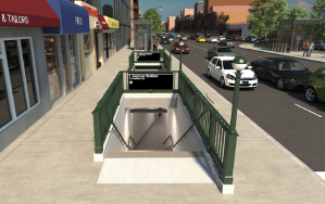 Rendering of south side entrance to the subway station