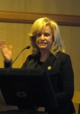 Congresswoman Carolyn Maloney speaks at the meeting.