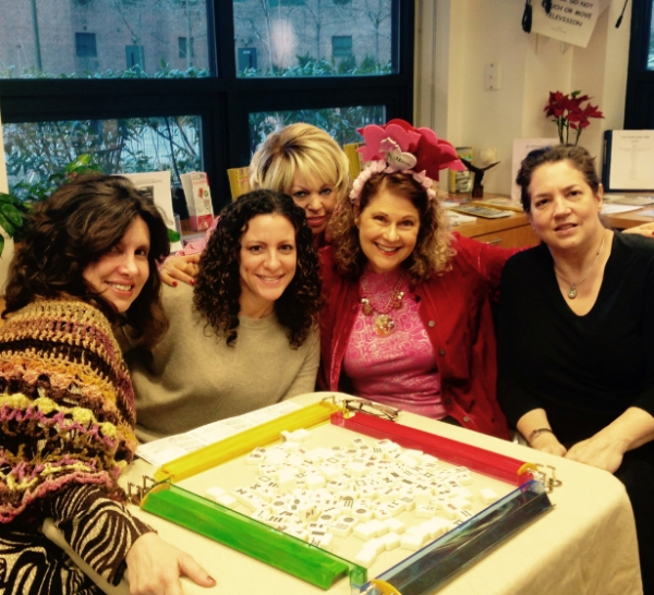 Ahuva Ellner, pictured second to right, at a Valentine's Day game at the Stuyvesant Town Community Center