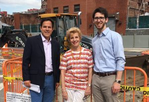 Council Member Dan Garodnick, pictured at the work site at 14th Street and Avenue C with Susan Steinberg, president of the ST-PCV Tenants Association and Howie Levine fom Garodnick's office Photo by Sabina Mollot)