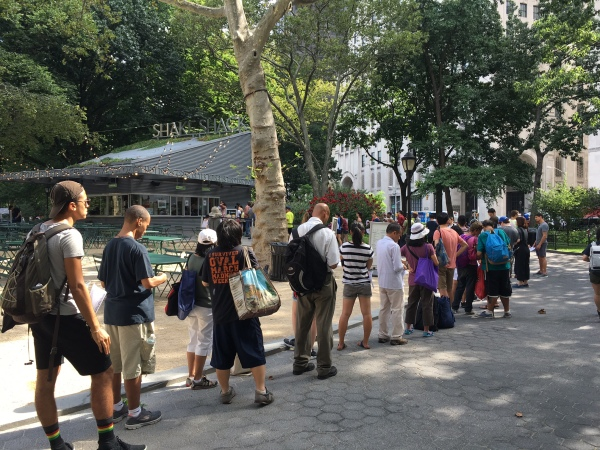 The line before 10 a.m. on Tuesday at Madison Square Park (Photo by Sabina Mollot)