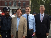 13 Precinct Police Officer Jade Baird, Council Member Dan Garodnick, State Senator Brad Hoylman and Stuyvesant Town Public Safety Chief William McClellan