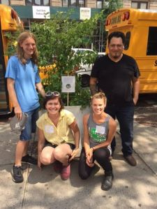 Boy Scout Baird Johnson, Epiphany Church custodian Fidel Rivera, and Solar One employees Diana Grueberg, Stuyvesant Cove Park gardener, and Liza Mindemann, park manager