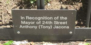 This plaque was recently installed in memory of a Kips Bay resident. (Photo by Claude L. Winfield)