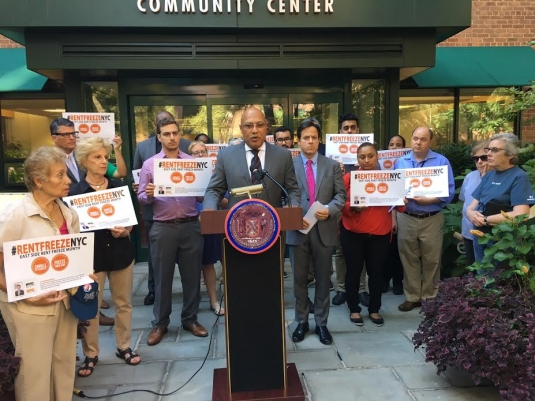 Last Thursday, Finance Commissioner Jacques Jiha and Council Member Dan Garodnick announced that citywide, eligible seniors and disabled tenants aren't taking advantage of an available rent freeze, especially in Stuyvesant Town and along the East Side of Manhattan. (Photos by Sabina Mollot)