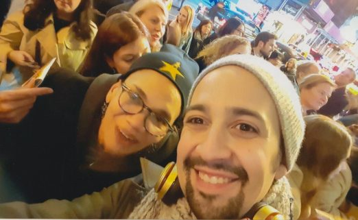 "Stuyvesant Town resident Kim Ball takes a selfie with Lin-Manuel Miranda, former ""Hamilton"" star while waiting on line for the lottery, prior to the line turning virtual."