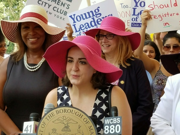 Sarah Shamoon, at 17, is the youngest member of Community Board 6. She's also interned for three women politicians and has even made use of her political muscle to help get new bathrooms for her high school. (Pictured) Shamoon gives a speech on Women's Equality Day alongside elected officials including Public Advocate Letitia James and Assemblywoman  Linda Rosenthal. (Photo courtesy of Sarah Shamoon)