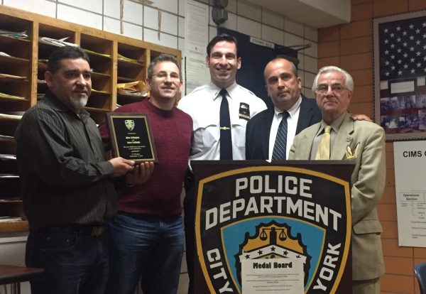 Malibu owners Jose Collado and Alex Grimpas, Executive Officer Bekim Kalicovic, Detective Ray Dorian and 13th Precinct Community Council President Frank Scala Photo by Maria Rocha-Buschel)