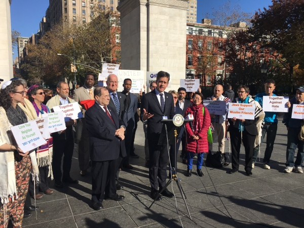 State Senator Brad Hoylman with other elected officials representing the Greenwich Village area, the heads of two universities and local clergy members (Photo by Sabina Mollot)