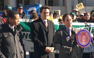 City Council Member Dan Garodnick speaks at a rally alongside Council Members (L-R) Ritchie Torres and Ben Kallos.