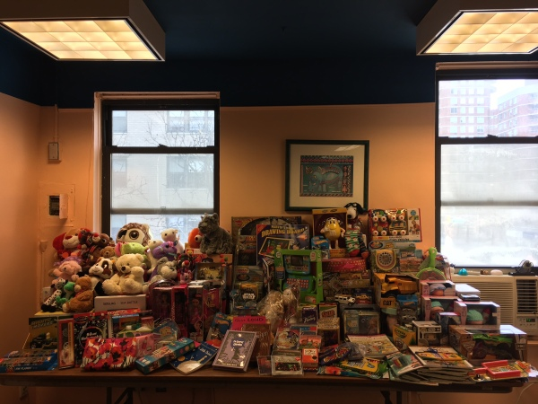 Gifts donated to Mount Sinai Beth Israel (Photo by Sabina Mollot)