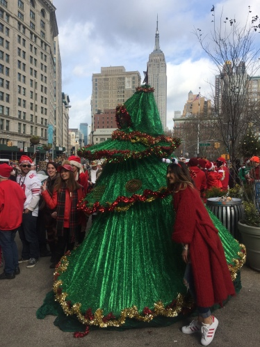 Brooklyn-based art collective House of Yes sent a stilt-walker in a giant Christmas tree costume to participate.