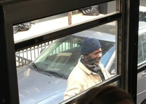 Parent Mitch Horowitz said this man urinated on the street and then lingered by a schoolbus, smiling at the kids inside.