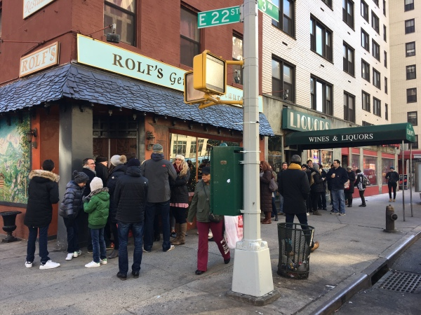 The line outside the restaurant shortly before noon on Tuesday