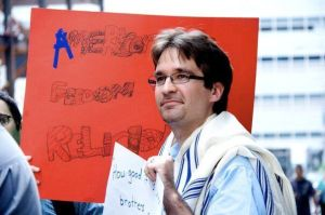Rabbi Stanton, pictured at a march five years ago in support of Park51, a Muslim culture center planned for Lower Manhattan (Photo by Mirah Curzer)